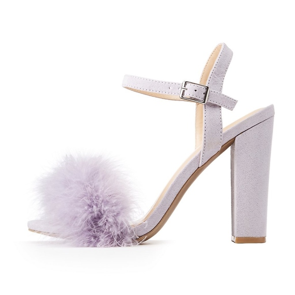 5c7029f2fa69 Feather-Trim Ankle Wrap Sandals Fur Heels Lavender. Boutique. Charlotte  Russe